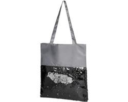 Látková nákupní taška SNAFU s flitry - šedá / černá