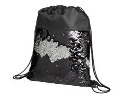 Látkový šňůrkový batoh LACE s flitry - černá