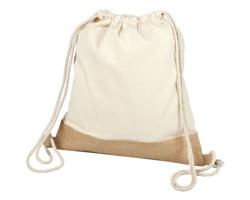 Bavlněný šňůrkový batoh CAIMAN s jutovým dnem - přírodní