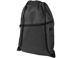Polyesterový šňůrkový batoh VACANTIA se zipem a otvorem na sluchátka - černá