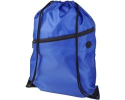 Polyesterový šňůrkový batoh VACANTIA se zipem a otvorem na sluchátka - královská modrá