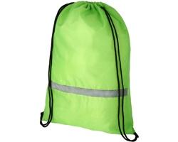 Polyesterový šňůrkový batoh FINAL s reflexním pruhem - jemně zelená