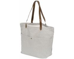 Pevná bavlněná nákupní taška BEAK s dlouhými popruhy - světle šedá