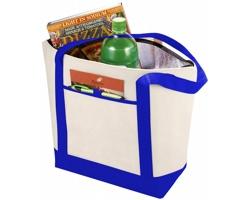 Netkaná prostorná chladicí taška FAMED - přírodní / královská modrá