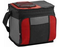 Skládací chladicí taška SUPT, pro 24 plechovek - červená / černá / šedá