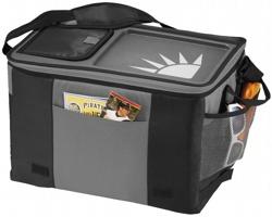 Polyesterová chladicí taška SOFIA pro 50 plechovek se stolní deskou a snadným složením - černá / šedá