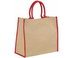 Velká jutová taška GLUER se zapínáním na suchý zip - přírodní / červená