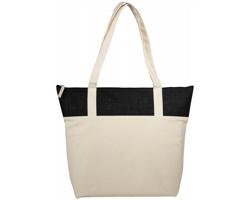 Bavlněná taška s jutou PROB s dlouhými uchy - přírodní / černá