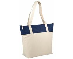 Bavlněná taška s jutou PROB s dlouhými uchy - přírodní / námořní modrá