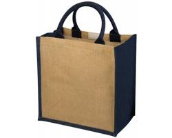 Pevná dárková taška NATURE z juty - přírodní / námořní modrá