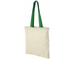 Bavlněná taška ALASKA s barevnými uchy - přírodní / středně zelená