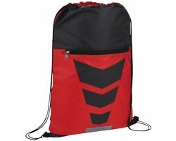 Polyesterový stahovací batoh MOPING s menší kapsou na zip - červená / černá