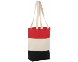 Bavlněná nákupní taška LA PLAYA s dlouhými uchy - přírodní / červená