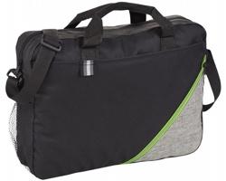 Polyesterová konferenční taška DEAD s ramenním popruhem - černá / jemně zelená