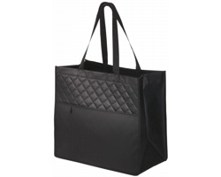 Netkaná laminovaná nákupní taška GEODE s dlouhými uchy - černá