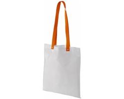 Polyesterová nákupní taška SNARL s barevnými uchy - bílá / oranžová