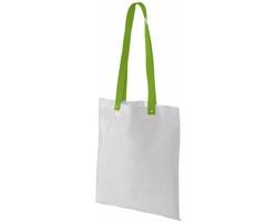 Polyesterová nákupní taška SNARL s barevnými uchy - bílá / jemně zelená