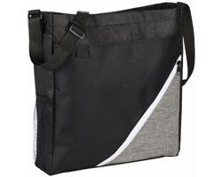 Polyesterová konferenční taška VULT s nastavitelným ramenním popruhem - černá / bílá