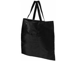 Polyesterová skládací nákupní taška PEKOE s kroužkem na klíče - černá
