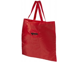 Polyesterová skládací nákupní taška PEKOE s kroužkem na klíče - červená