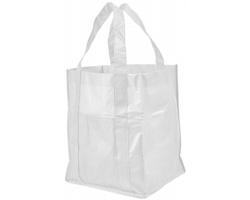Netkaná laminovaná nákupní taška LUCIANO s otevřeným hlavním prostorem - bílá