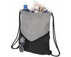 Sportovní stahovací batoh SALPA se síťovými kapsami - černá / šedá