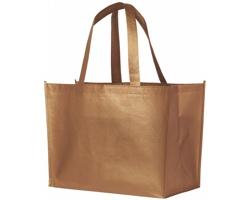 Laminovaná nákupní taška RECD s lesklým kovovým povrchem - měděná