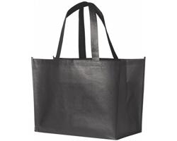 Laminovaná nákupní taška RECD s lesklým kovovým povrchem - ocelově šedá