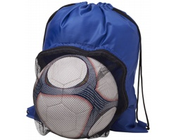 Značkový polyesterový stahovací batoh TORTE s prostorem na fotbalový míč - královská modrá