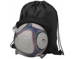 Značkový polyesterový stahovací batoh TORTE s prostorem na fotbalový míč - černá