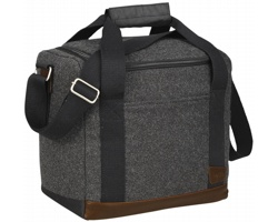 Polyesterová chladící taška Field & Co. BAGEL, kapacita 12 lahví - tmavě šedý melír / hnědá
