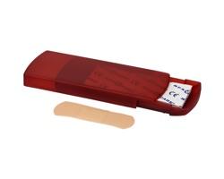 Plastové pouzdro s polštářkovými náplastmi FOLL, 5 ks - červená