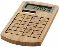 Osmimístná ekologická kalkulačka z bambusu MANNIE - hnědá