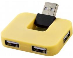 Plastový USB hub PLICA se skládacím vstupním portem - žlutá