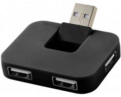 Plastový USB hub PLICA se skládacím vstupním portem - černá