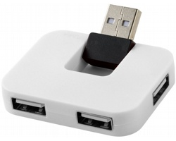 Plastový USB hub PLICA se skládacím vstupním portem - bílá