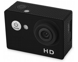 Sportovní kamera s HD objektivem CHARISSA s vodotěsným pouzdrem - černá
