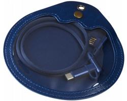 Textilní nabíjecí kabel BUREN v pouzdře, 3v1 - námořní modrá