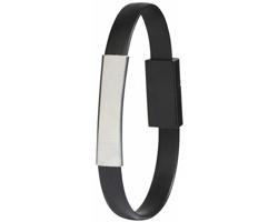Silikonový náramek s dobíjecím kabelem LOGO, 2 v 1 - černá