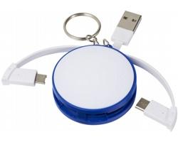 Plastová klíčenka s nabíjecím kabelem GUSTO, 3 v 1 - královská modrá