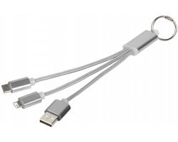 Kovový nabíjecí kabel LEANNESS s kroužkem na klíče, 3 v 1 - stříbrná