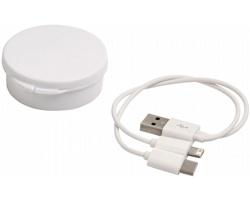 Nabíjecí kabel CARLISLE 3v1 v plastovém pouzdru - bílá