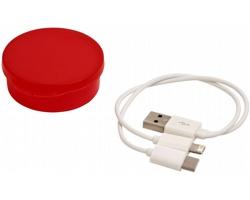 Nabíjecí kabel CARLISLE 3v1 v plastovém pouzdru - transparentní červená- transparentní červená