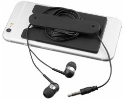 Silikonové pouzdro na karty CLIVI se špuntovými sluchátky - černá