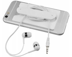 Silikonové pouzdro na karty CLIVI se špuntovými sluchátky - bílá