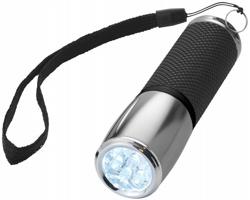 Svítilna s pryžovým držadlem a kovovou hlavou SERIN s 9 LED v dárkové kazetě - stříbrná / černá