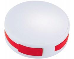 Skládací kulatý USB hub TEAMS se 4 porty - bílá / červená