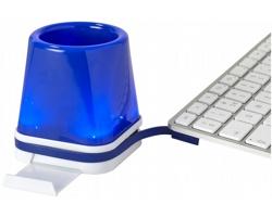 Plastový USB rozbočovač SHERRIE se stojánek na psací potřeby a chytrý telefon - královská modrá