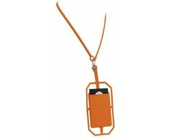 Silikonové pouzdro na kartu HANGS s RFID ochranou a lanyardem - oranžová