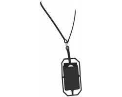 Silikonové pouzdro na kartu HANGS s RFID ochranou a lanyardem - černá